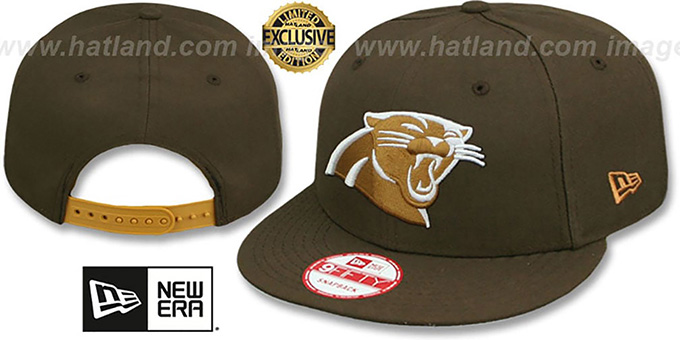 Panthers 'TEAM-BASIC SNAPBACK' Brown-Wheat Hat by New Era : pictured without stickers that these products are shipped with