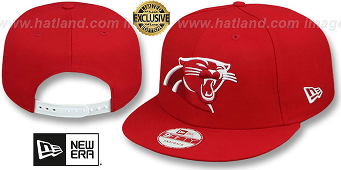 Panthers 'TEAM-BASIC SNAPBACK' Red-White Hat by New Era : pictured without stickers that these products are shipped with