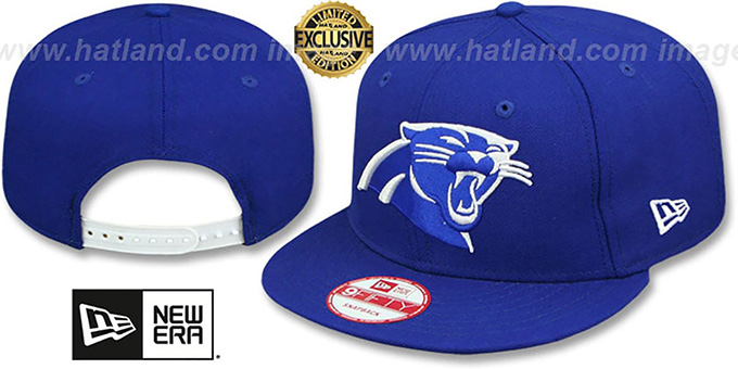 Panthers 'TEAM-BASIC SNAPBACK' Royal-White Hat by New Era : pictured without stickers that these products are shipped with