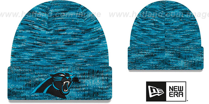 Panthers 'TEAM-CRAZE' Blue-Black Knit Beanie Hat by New Era : pictured without stickers that these products are shipped with