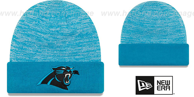 63714ab87 Panthers  TEAM-RAPID  Blue-White Knit Beanie Hat by New Era