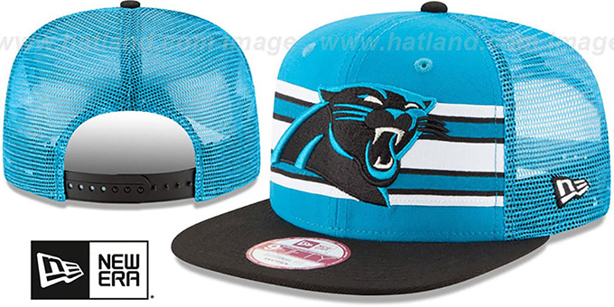 Panthers 'THROWBACK-STRIPE SNAPBACK' Blue-Black Hat by New Era : pictured without stickers that these products are shipped with