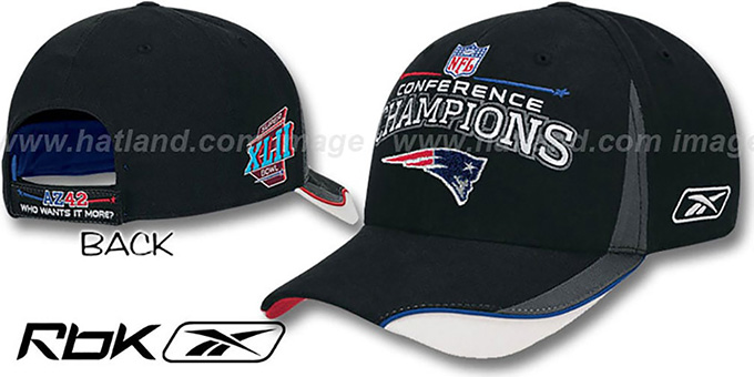 Patriots '2007 AFC CHAMPS' Hat by Reebok : pictured without stickers that these products are shipped with
