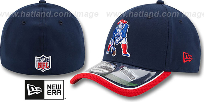 Patriots '2014 NFL STADIUM THROWBACK FLEX' Navy Hat by New Era : pictured without stickers that these products are shipped with