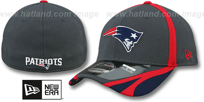 Patriots '2014 NFL TRAINING FLEX' Graphite Hat by New Era : pictured without stickers that these products are shipped with