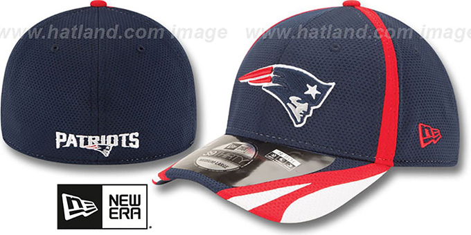 Patriots '2014 NFL TRAINING FLEX' Navy Hat by New Era : pictured without stickers that these products are shipped with