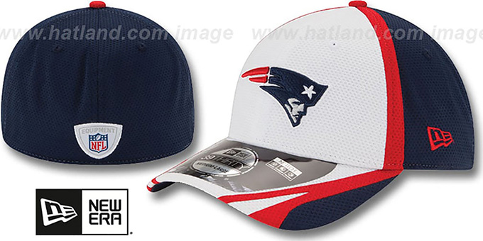 Patriots '2014 NFL TRAINING FLEX' White Hat by New Era : pictured without stickers that these products are shipped with