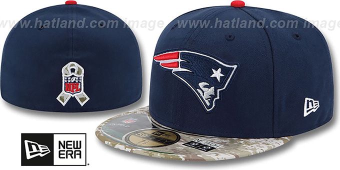 Patriots '2014 SALUTE-TO-SERVICE' Navy-Desert Fitted Hat by New Era : pictured without stickers that these products are shipped with