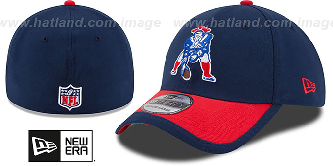 Patriots '2015 NFL THROWBACK STADIUM FLEX' Navy-Red Hat by New Era : pictured without stickers that these products are shipped with