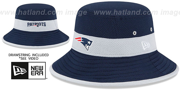 Patriots '2015 NFL TRAINING BUCKET' Navy Hat by New Era : pictured without stickers that these products are shipped with