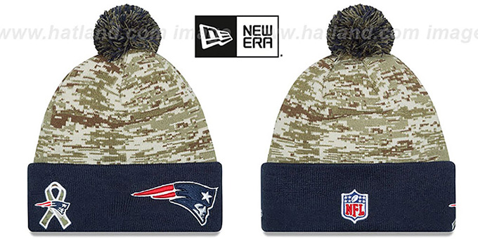 Patriots '2015 SALUTE-TO-SERVICE' Knit Beanie Hat by New Era : pictured without stickers that these products are shipped with