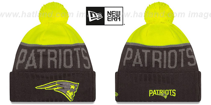 Patriots '2015 STADIUM' Charcoal-Yellow Knit Beanie Hat by New Era : pictured without stickers that these products are shipped with