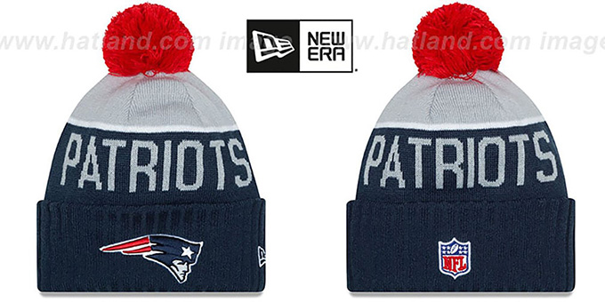 Patriots '2015 STADIUM' Navy-Grey Knit Beanie Hat by New Era : pictured without stickers that these products are shipped with
