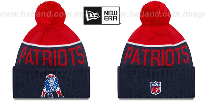 Patriots '2015 THROWBACK STADIUM' Navy-Red Knit Beanie Hat by New Era : pictured without stickers that these products are shipped with