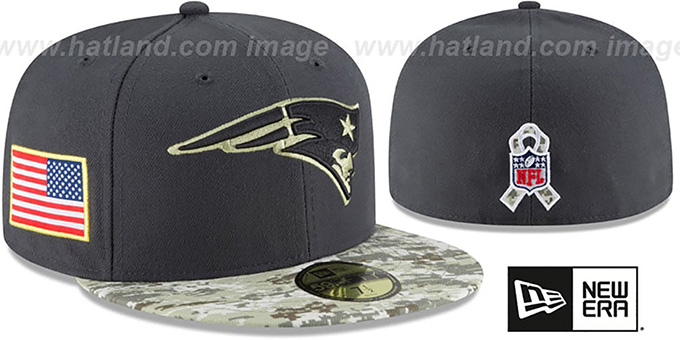 Patriots '2016 SALUTE-TO-SERVICE' Grey-Desert Fitted Hat by New Era : pictured without stickers that these products are shipped with