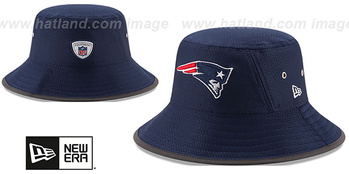 Patriots '2017 NFL TRAINING BUCKET' Navy Hat by New Era : pictured without stickers that these products are shipped with