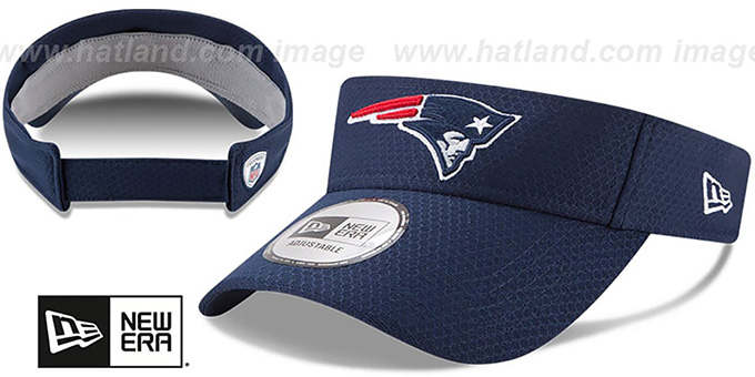Patriots '2017 NFL TRAINING VISOR' Navy by New Era : pictured without stickers that these products are shipped with