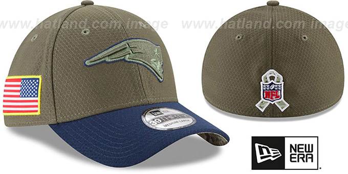 New England Patriots 2017 SALUTE-TO-SERVICE FLEX Green-Navy Hat 1d054694bc6