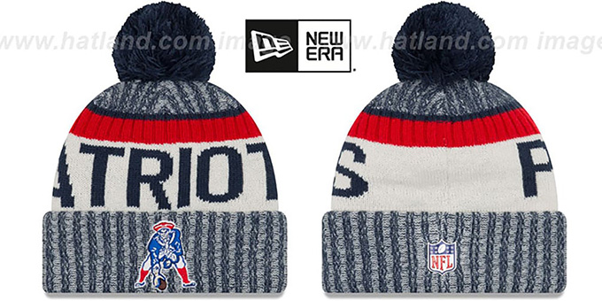 Patriots '2017 THROWBACK STADIUM BEANIE' Navy Knit Hat by New Era : pictured without stickers that these products are shipped with