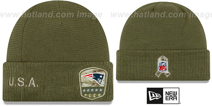 Patriots '2019 SALUTE-TO-SERVICE' Knit Beanie Hat by New Era
