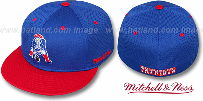 Patriots '2T BP-MESH' Royal-Red Fitted Hat by Mitchell & Ness : pictured without stickers that these products are shipped with