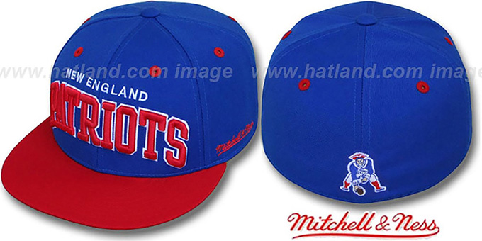 Patriots '2T CLASSIC-ARCH' Royal-Red Fitted Hat by Mitchell & Ness : pictured without stickers that these products are shipped with