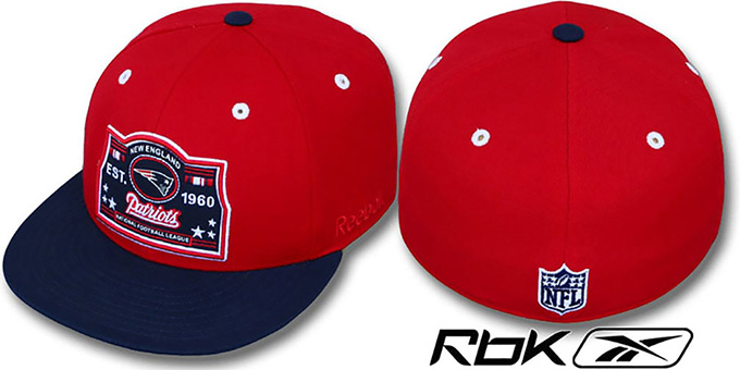 Patriots '2T ESTABLISHED' Red-Navy Fitted Hat by Reebok : pictured without stickers that these products are shipped with