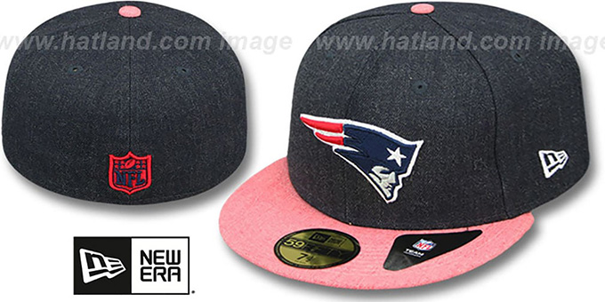 Patriots '2T-HEATHER ACTION' Navy-Red Fitted Hat by New Era : pictured without stickers that these products are shipped with