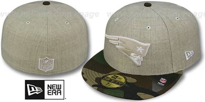 Patriots '2T-HEATHER' Oatmeal-Army Fitted Hat by New Era : pictured without stickers that these products are shipped with
