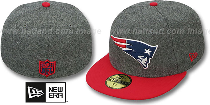 Patriots '2T NFL MELTON-BASIC' Grey-Red Fitted Hat by New Era : pictured without stickers that these products are shipped with