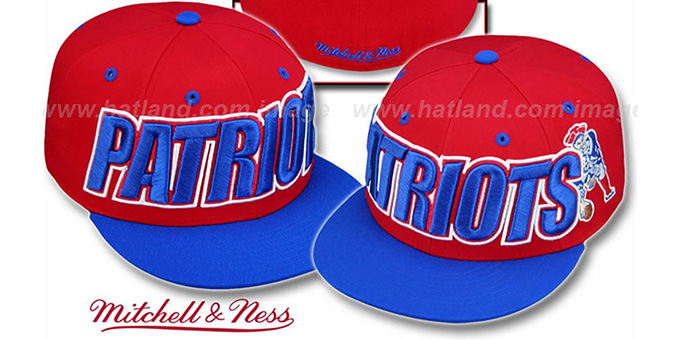 Patriots '2T WORDMARK' Red-Royal Fitted Hat by Mitchell & Ness : pictured without stickers that these products are shipped with