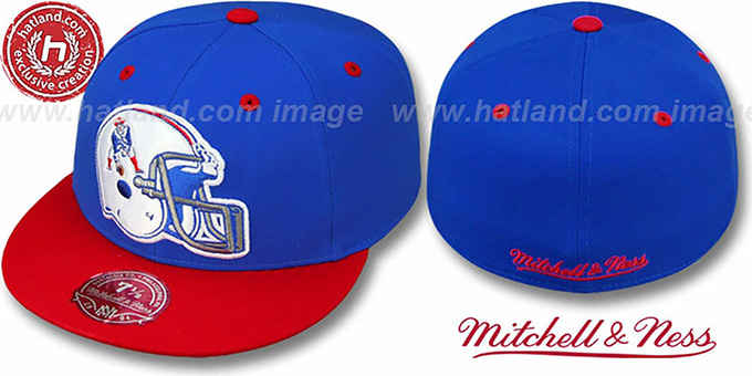 Patriots '2T XL-HELMET' Royal-Red Fitted Hat by Mitchell & Ness : pictured without stickers that these products are shipped with