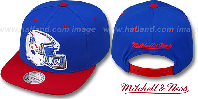 Patriots '2T XL-HELMET SNAPBACK' Royal-Red Adjustable Hat by Mitchell & Ness : pictured without stickers that these products are shipped with
