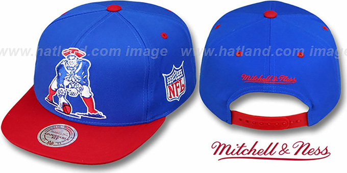 Patriots '2T XL-LOGO SNAPBACK' Royal-Red Adjustable Hat by Mitchell & Ness : pictured without stickers that these products are shipped with