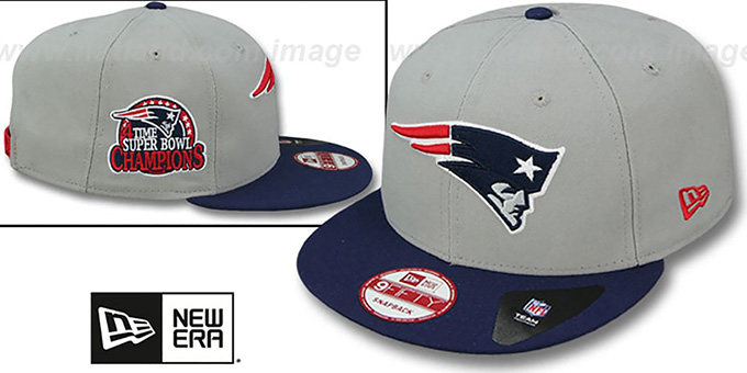 Patriots '4-TIME CHAMPS SNAPBACK' Grey-Navy Hat by New Era : pictured without stickers that these products are shipped with