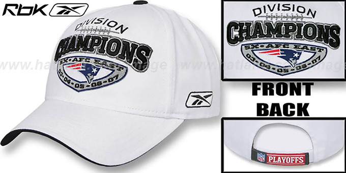Patriots '5X AFC EAST DIVISION CHAMPS' Hat by Reebok : pictured without stickers that these products are shipped with