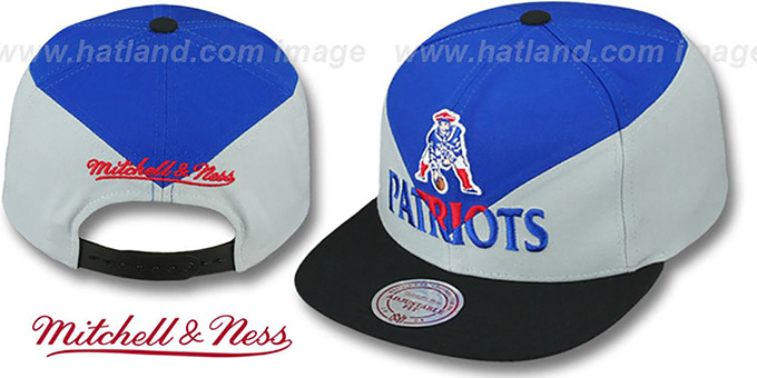 Patriots 'AMPLIFY DIAMOND SNAPBACK' Royal-Grey Hat by Mitchell and Ness : pictured without stickers that these products are shipped with