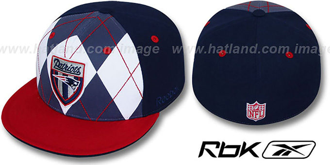 Patriots 'ARGYLE-SHIELD' Navy-Red Fitted Hat by Reebok : pictured without stickers that these products are shipped with