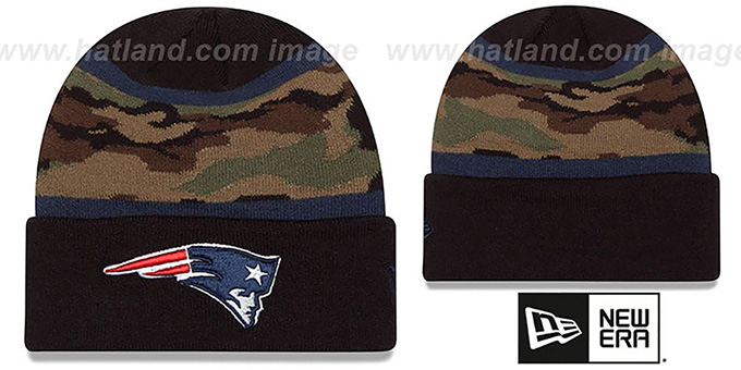 Patriots 'ARMY CAMO FILLZ' Knit Beanie Hat by New Era : pictured without stickers that these products are shipped with