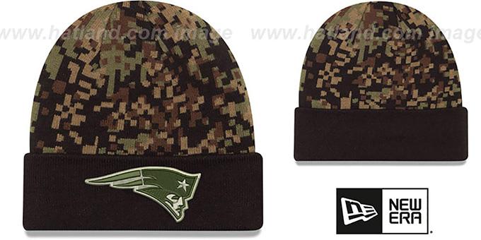 New England Patriots ARMY CAMO PRINT-PLAY Knit Beanie Hat 6d88f0214