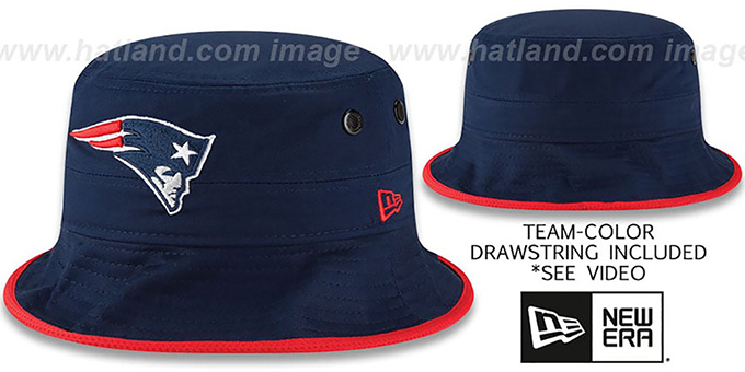 Patriots 'BASIC-ACTION' Navy Bucket Hat by New Era : pictured without stickers that these products are shipped with