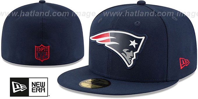 Patriots 'BEVEL' Navy Fitted Hat by New Era : pictured without stickers that these products are shipped with