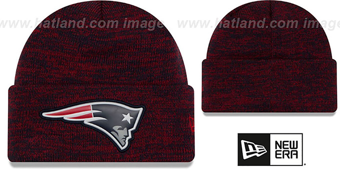 Patriots 'BEVEL' Navy-Red Knit Beanie Hat by New Era : pictured without stickers that these products are shipped with