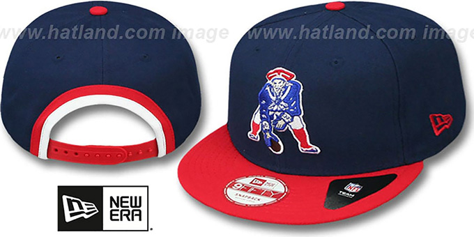 Patriots 'BINDBACK TB SNAPBACK' Navy-Red Hat by New Era : pictured without stickers that these products are shipped with