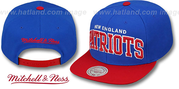 Patriots 'BLOCK-ARCH SNAPBACK' Royal-Red Hat by Mitchell and Ness : pictured without stickers that these products are shipped with