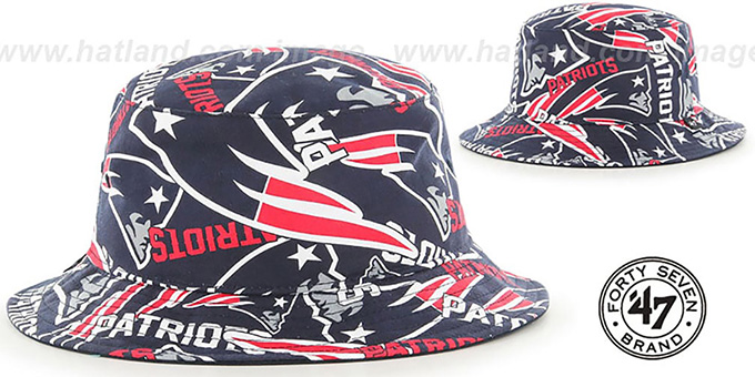 Patriots 'BRAVADO BUCKET' Hat by Twins 47 Brand : pictured without stickers that these products are shipped with