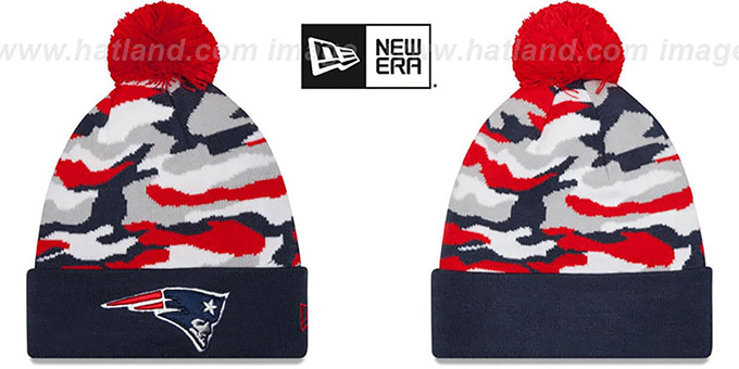 Patriots 'CAMO CAPTIVATE' Knit Beanie Hat by New Era : pictured without stickers that these products are shipped with