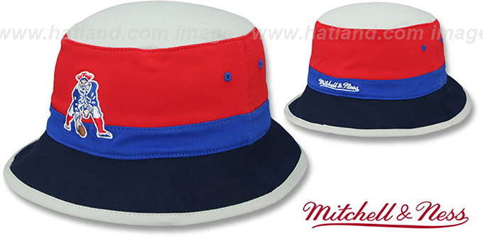 Patriots 'COLOR-BLOCK BUCKET' Red-Royal-Navy Hat by Mitchell and Ness : pictured without stickers that these products are shipped with