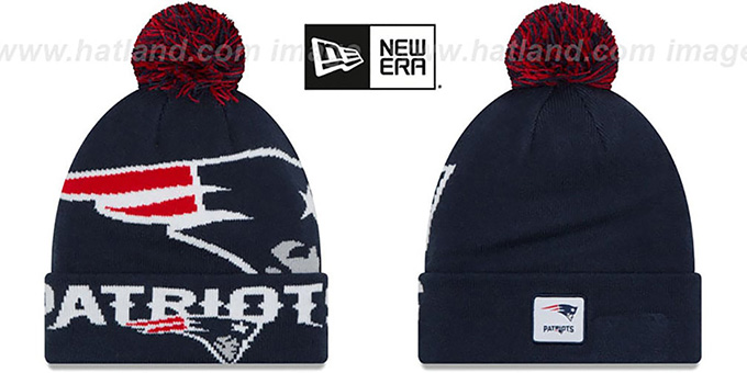 Patriots 'COLOSSAL-TEAM' Navy Knit Beanie Hat by New Era : pictured without stickers that these products are shipped with