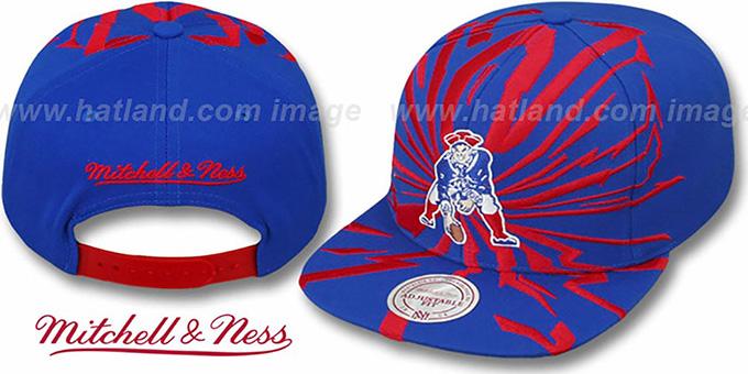 New England Patriots EARTHQUAKE SNAPBACK Royal Hat by Mitchell   17dbc21ef44